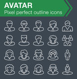 Set of thin line avatar icons. Stock Image