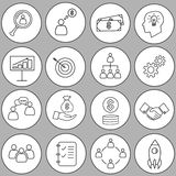 Set of thin line bussines icon Stock Photos
