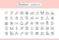 Set of 50 thin line Christmas icons. Vector illustration vector illustration