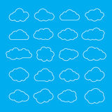 Set of Thin Line Clouds Icons. Cloud Shapes collection. Stock Images