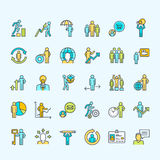 Set of thin line color business people icons Royalty Free Stock Photography