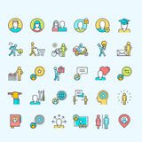 Set of thin line color people icons Stock Photos