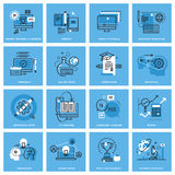 Set of thin line concept icons of distance education. Online training, skill development, education apps. Premium quality icons for website, mobile website and Stock Images