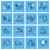 Set of thin line concept icons of marketing. Plan and strategy, digital marketing, social media and networking, mobile marketing, key account management. Icons stock illustration