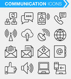 Set of thin line contact and communication icons. Stock Images