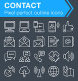 Set of thin line contact and communication icons. Pixel perfect trendy thin line icons for mobile apps and web design. Editable stroke Royalty Free Stock Image