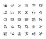 Set of thin line cryptocurrency icons vector illustration