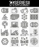 Thin Line Design Icons of Cryptocurrency. Set of thin line design icons of cryptocurrency, EPS 8 Royalty Free Stock Photo