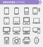 Set of thin line devices icons. Royalty Free Stock Photography