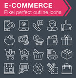 Set of thin line e-commerce icons. Stock Images