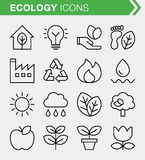 Set of thin line ecology icons. Pixel perfect icons for mobile apps and web design Stock Photos