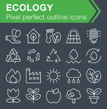 Set of thin line ecology icons. Pixel perfect trendy thin line icons for mobile apps and web design. Editable stroke Royalty Free Stock Image