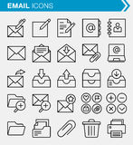 Set of thin line email and internet icons. Stock Photos