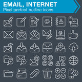 Set of thin line email and internet icons. Royalty Free Stock Photo