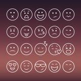 Set of thin line emoticons Stock Image