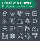 Set of thin line energy and power icons. Pixel perfect trendy thin line icons for mobile apps and web design. Editable stroke Stock Images