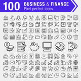 Set of thin line finance, banking and business icons. Stock Photo