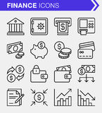 Set of thin line finance and banking icons. Stock Images
