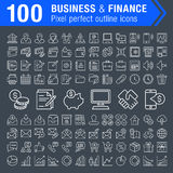 Set of 100 thin line finance and business icons. Pixel perfect trendy thin line icons for mobile apps and web design. Editable stroke Stock Images