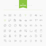 Set of thin line flat bank, money and finance icons Stock Images