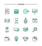 Set of thin line flat business icons Royalty Free Stock Image