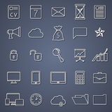 Set of thin line flat business icons Stock Photography