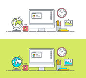 Set of thin line flat design concept of app developer workspace Royalty Free Stock Image