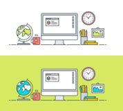 Set of thin line flat design concept of app developer workspace Royalty Free Stock Image