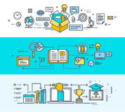 Set of thin line flat design concept banners for online education stock illustration