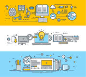 Set of thin line flat design concept banners for online education. Set of thin line flat design concept banners for video tutorials, online training and courses Royalty Free Stock Images