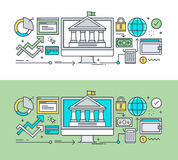 Set of thin line flat design concept of e-banking. Thin line flat design concept of e-banking. Concept for website banners and promotional materials Royalty Free Stock Photography