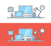 Set of thin line flat design concept of modern workspace Stock Image