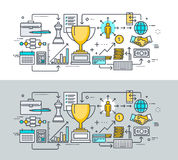 Set of thin line flat design concept on the theme of business success Stock Images