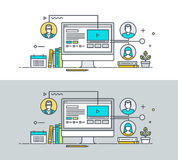Set of thin line flat design concept on the theme of online education Stock Image