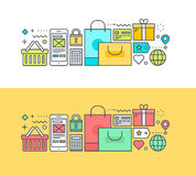 Set of thin line flat design concept on the theme of online shopping. Thin line flat design concept on the theme of online shopping and m-commerce. Concept for Stock Photo