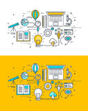 Set of thin line flat design concept on the theme of the research process vector illustration