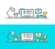 Set of thin line flat design concept of workspace Royalty Free Stock Photo