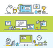 Set of thin line flat design concepts of modern workspace for web and app design and development Stock Images