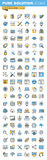 Set of thin line flat design icons of design, web development and seo Royalty Free Stock Images