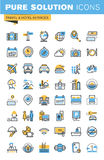 Set of thin line flat design icons of travel and hotel services Royalty Free Stock Photography
