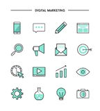 Set of thin line flat digital marketing icons Stock Photos