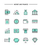 Set of thin line flat money and finance icons Stock Image