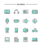 Set of thin line flat multimedia icons Royalty Free Stock Photo