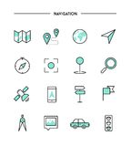 Set of thin line flat navigation icons Royalty Free Stock Images