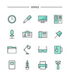 Set of thin line flat office icons Stock Image