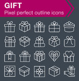 Set of thin line gift icons. Stock Photos