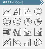 Set of thin line graphs and charts icons. Royalty Free Stock Photo
