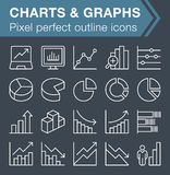 Set of thin line graphs and charts icons. Stock Image