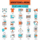 Set of thin line icons advertising media channels Stock Photos