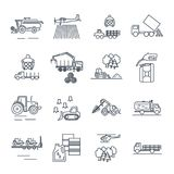 Set of thin line icons agricultural machinery, equipment Royalty Free Stock Photography